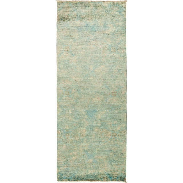 """Contemporary Vibrance Hand-Knotted Runner 3' 0"""" x 7' 10"""" For Sale - Image 4 of 4"""