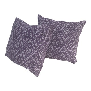 Purple and White Accent Pillows - a Pair For Sale