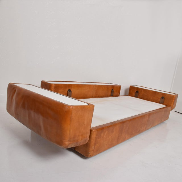Mid Century Modern Italian Leather Sofa Bed For Sale - Image 9 of 11
