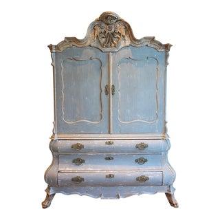 18th C Baroque Hollandaise Painted Buffet Deux Corp