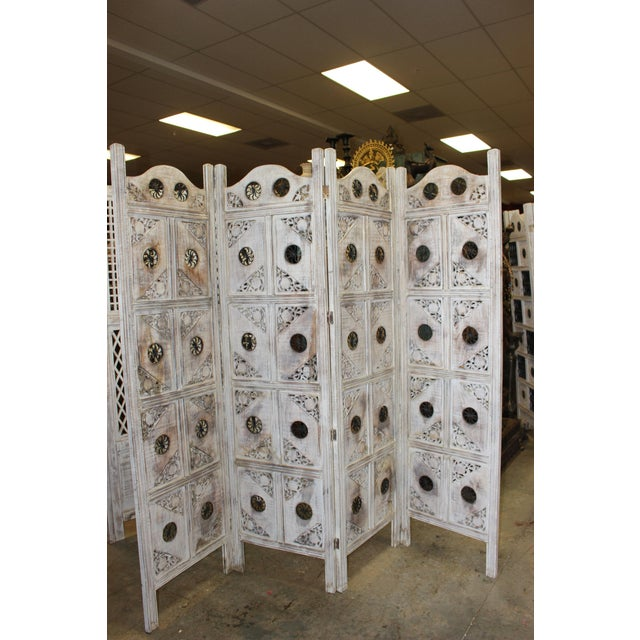 Boho Chic 1920s Indian 4-Panel White Wood Screen For Sale - Image 3 of 8