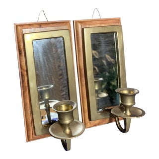 Vintage Brass Wood Mirror Wall Mounted Candle Holder - a Pair For Sale