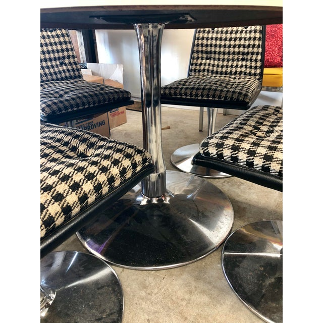 Heavy, structurally sound set in unaltered condition. Fun checkerboard pattern and chrome bases.