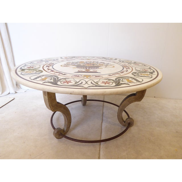 Late 20th Century Vintage Italian Inlay White Marble Coffee Table For Sale - Image 5 of 8