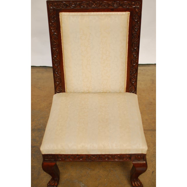 Carved Mahogany Low Wedding Chairs - Pair - Image 4 of 6
