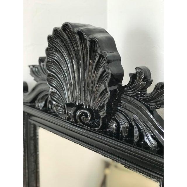 Coastal Coastal Regency Ornate Scalloped Shell Black Lacquered Mirror For Sale - Image 3 of 13