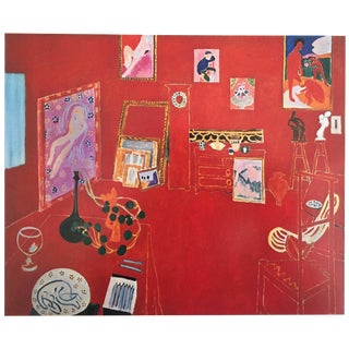 "Henri Matisse Vintage 1973 Authentic Fauvism Lithograph Print "" the Red Studio L' Atelier Panneau Rouge "" 1911 For Sale"