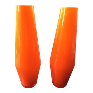 Orange Blown Glass Vases - A Pair