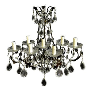 Antique Pair of Florentine Wall Lights Sconce Wall Light Beaded Crystal For Sale