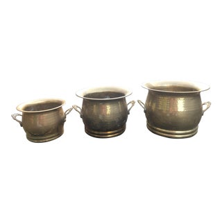 1970s Vintage Solid Brass Planter Set - Pots With Handles- Set of 3 For Sale