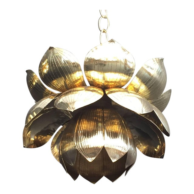 Exquisite small brass lotus pendant light by feldman decaso small brass lotus pendant light by feldman for sale aloadofball Images