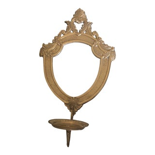 1940s Gothic Vintage Brass Candleholder Wall Sconce For Sale