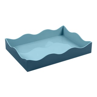 The Lacquer Company for Chairish Belle Rives Tray in Marine Blue / Bluebird, Large For Sale