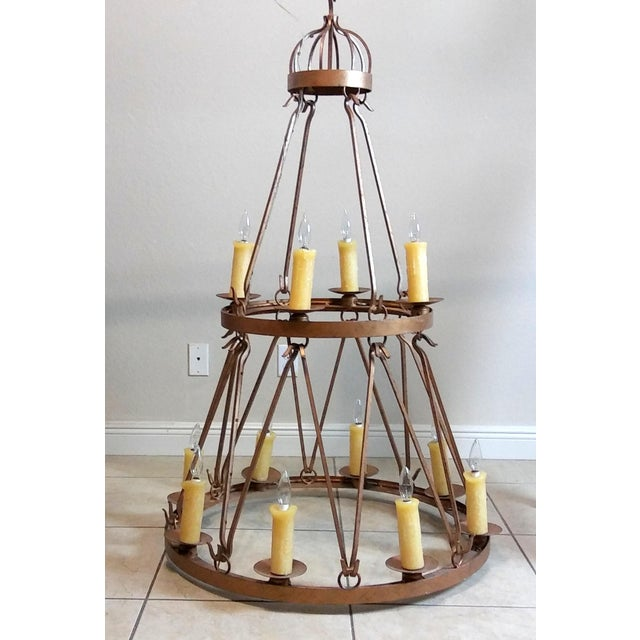 Late 20th Century Vintage Handmade Wrought Iron Two Tier Chandelier For Sale - Image 12 of 12