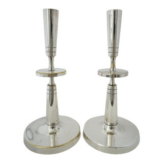 Mid-Century Modern Tommi Parzinger Mueck-Cary Silverplate Candlesticks - a Pair Candle Holders For Sale