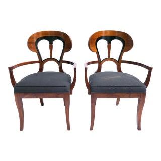 20th Century Biedermeier Gray Upholstered Armchairs - a Pair