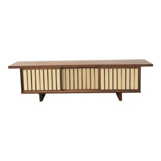 Walnut and Cane Low Profile Sideboard For Sale