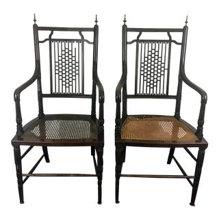 Late 19th Century Antique Charles Yandell Aesthestic Movement Chairs - A Pair For Sale