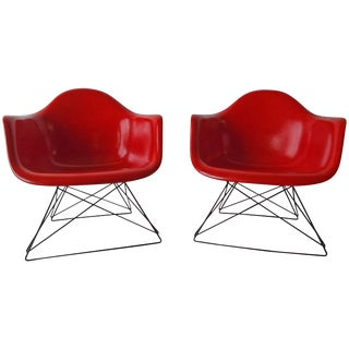 Charles Eames Herman Miller True Red Fiberglass Chairs For Sale