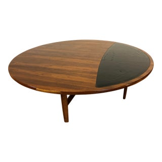 1960 Drexel Parallel Round Walnut Coffee Table With Leather or Vinyl Accent on Top For Sale