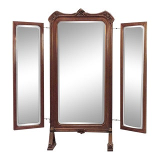 French Art Nouveau Walnut 3 Way Cheval Mirror For Sale