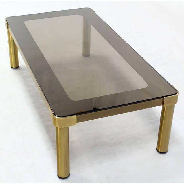 Mid-Century Modern Brass and Two-Tone Glass Coffee Table by Mastercraft For Sale - Image 6 of 11