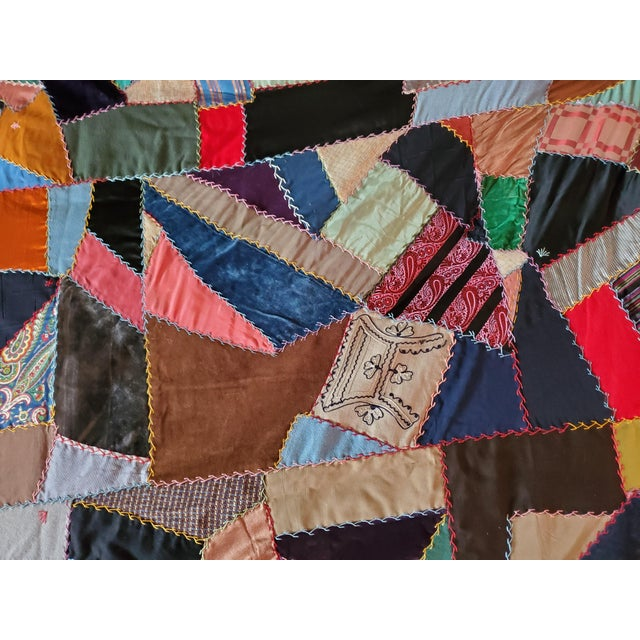 Antique American Crazy Quilt, Patchwork of Geometric Colors For Sale In Baltimore - Image 6 of 11