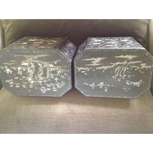 Mid 19th Century 19th Century Vintage Chinoiserie Lacquer Boxes- A Pair For Sale - Image 5 of 9
