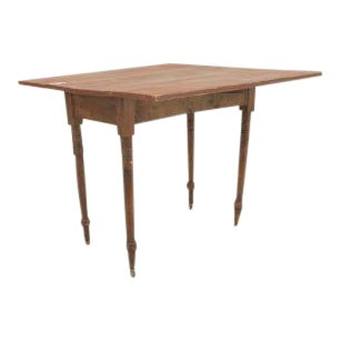 American Country Rustic style (19th Cent) rectangular antique red painted pine drop leaf dining table