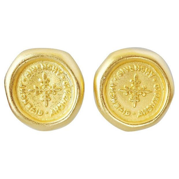 """1980s 1980s Givenchy Stamped """"Coin"""" Logo Earrings For Sale - Image 5 of 5"""