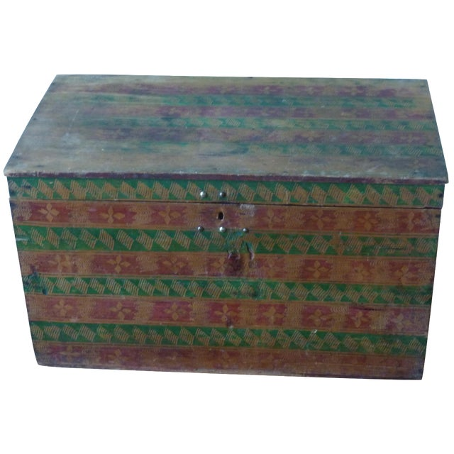 Hand-Painted Guatemalan Trunk - Image 1 of 4