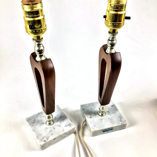 1960s 1960s Vintage Teak Marble Brass Italian Lamps - a Pair For Sale - Image 5 of 12