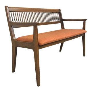 Mid Century Walnut Upholstered Bench by Drexel For Sale