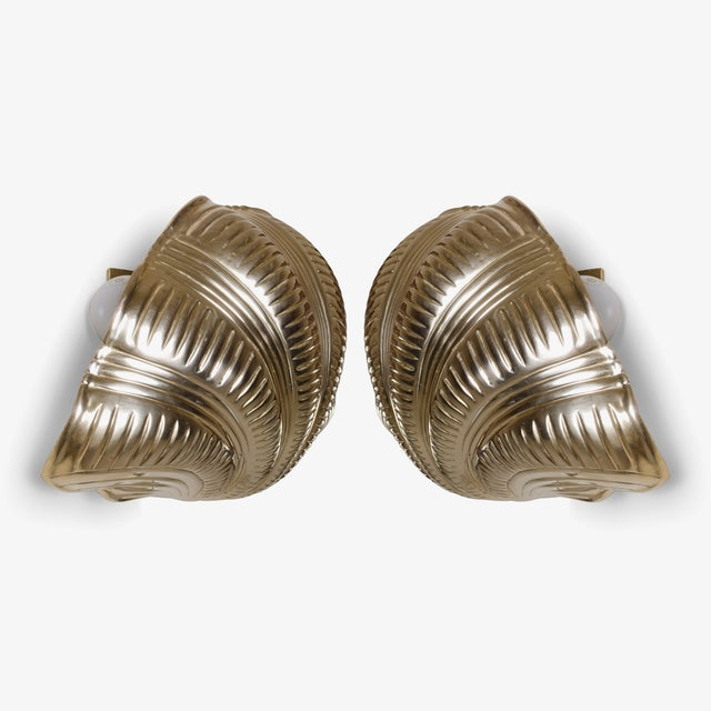 Italian Solid Brass Scallop Design Sconces - A Pair For Sale - Image 4 of 6
