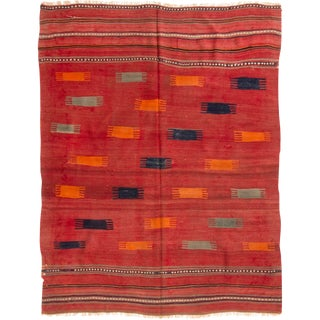 Antique Mid-Century Geometric Red Wool Kilim Rug - 5′ × 6′6″ For Sale