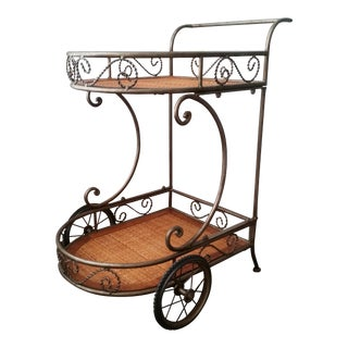 1970's Italian-Style Rolling Server Bar Tea Cart