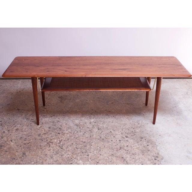 Danish Modern Peter Hvidt & Orla Mølgaard Nielsen Teak and Cane Coffee Table For Sale - Image 3 of 13