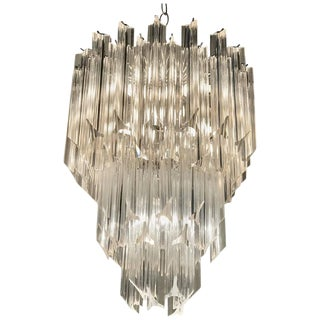 Three-Tier Hollywood Regency Lucite Chandelier