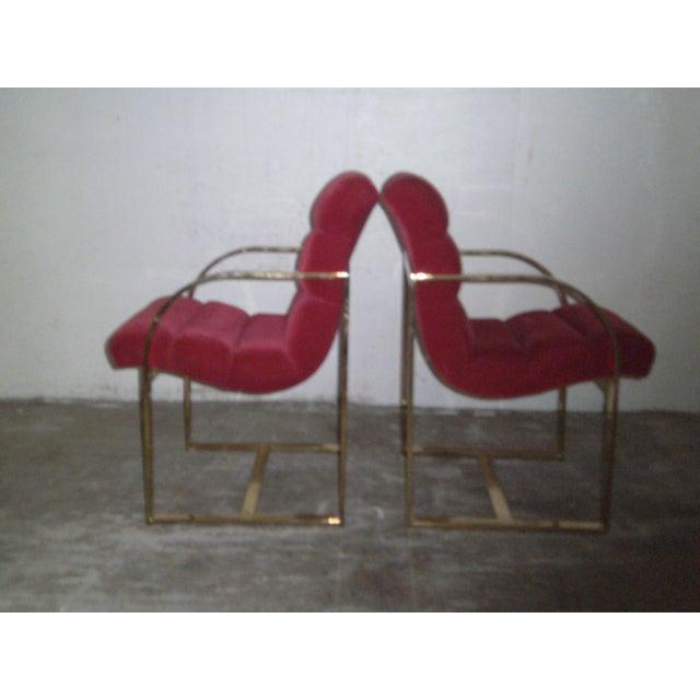 M. Baughman Cherry Velvet & Brass Chairs- A Pair - Image 3 of 8
