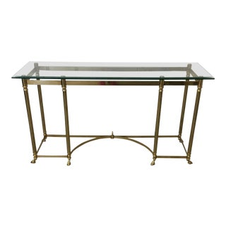 LaBarge Solid Brass Desk Console Table with Ram's Hoof Feet