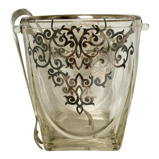 Crystal Ice Bucket With Silver Plate Decoration For Sale