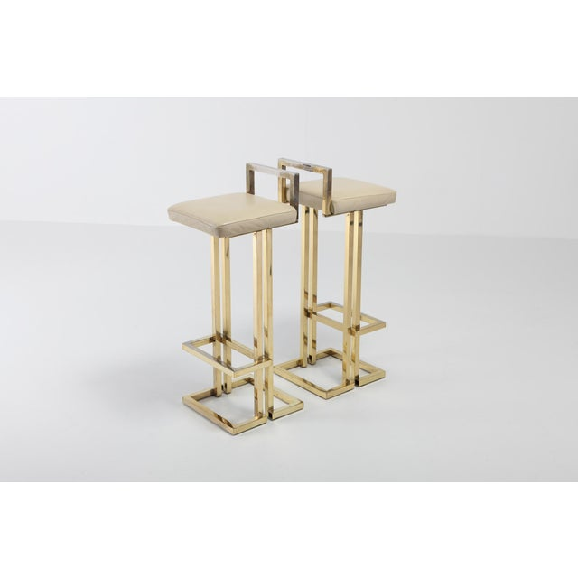 Maison Jansen Brass Stools Set of Four For Sale - Image 6 of 8