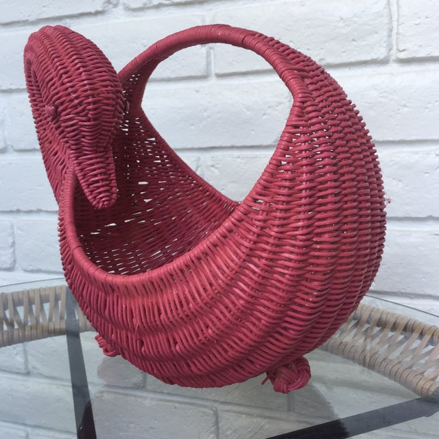Boho Chic Red Swan Basket For Sale - Image 3 of 11