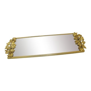 Vintage Gilt Brass Leaves Design Rectangular Vanity Tray or Wall Mirror For Sale
