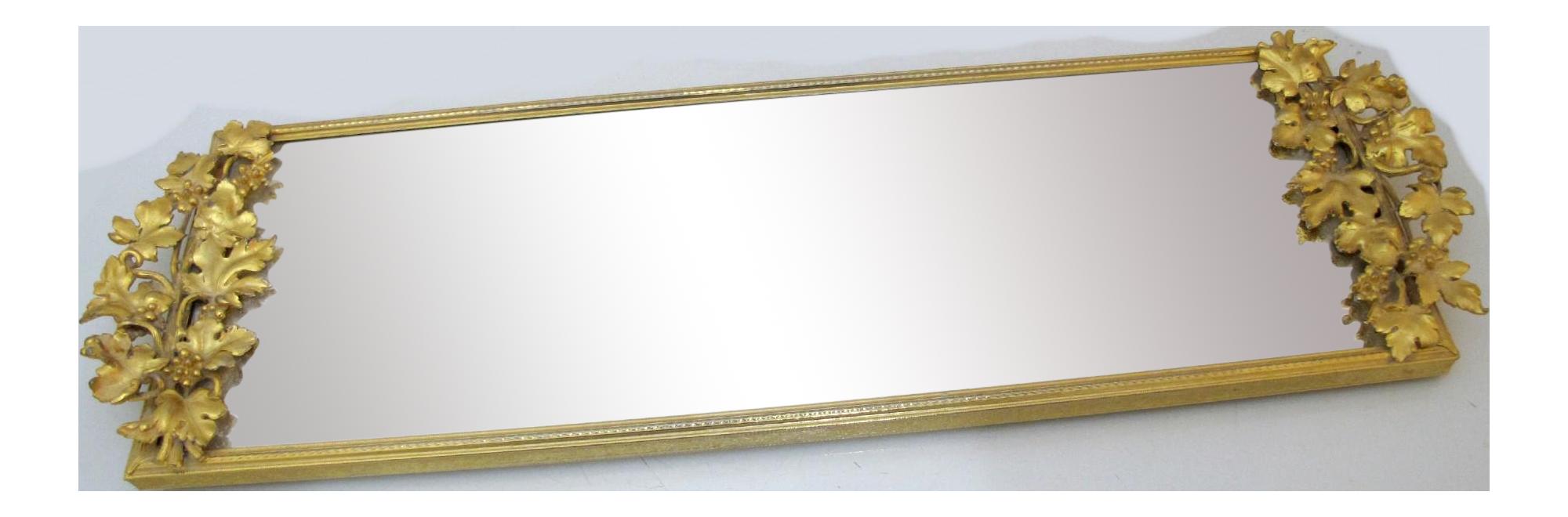 Vintage Gilt Brass Leaves Design Rectangular Vanity Tray Or Wall Mirror Chairish