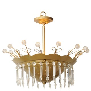 MidCentury Brass and Licite Chandelier