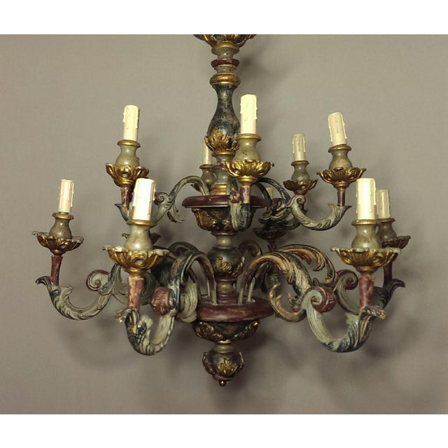 Large Antiqued Italian Chandelier 12 Arm 2 Tier Light Fixture Twelve serpentine shaped gesso arms, generously carved, with...