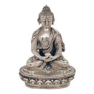 Vintage Miniature Silver Thai Seated Buddha For Sale