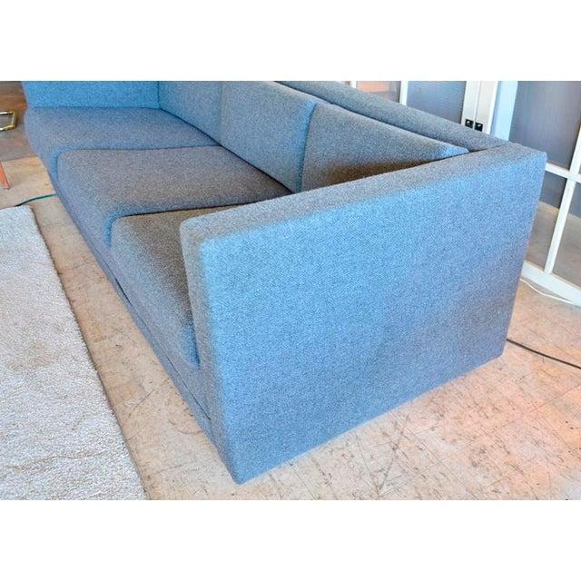 Milo Baughman Mid Century Modern Slate Gray Tweed Box Sofa For Sale - Image 4 of 6