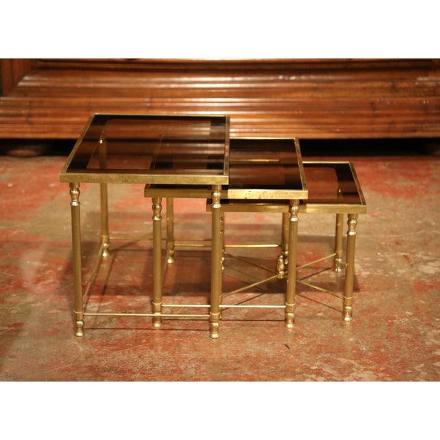 Set of Early 20th Century, French Brass Nesting Tables Gigognes For Sale - Image 4 of 9